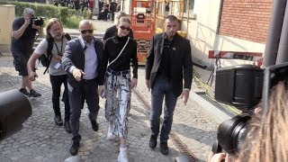 Gigi Hadid and her fellow models at the Max Mara Fashion Show in Milan