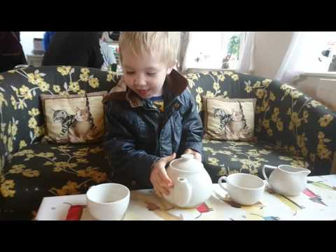 Jacob pouring real cups of tea