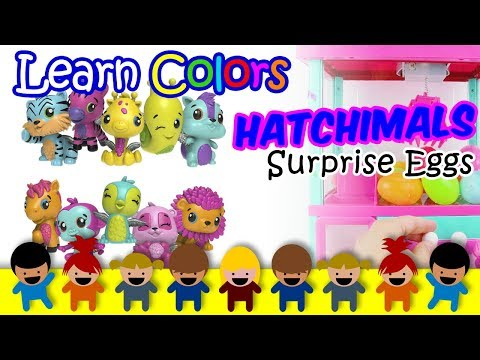 Surprise Eggs Nursery Rhymes, Learn Colors For Kids Videos For Kids With Hatchimals Claw Machine Win
