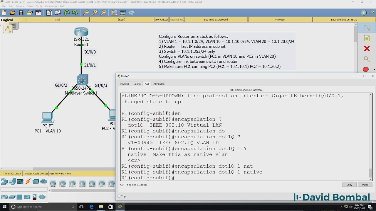 Cisco CCNA Packet Tracer Ultimate labs: Router on Stick Lab  Answers