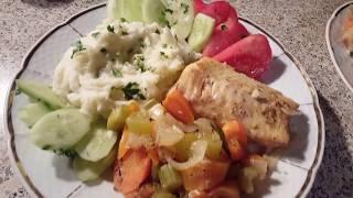 Филе трески с овощами запеченное в духовке