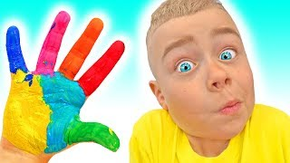 finger family   Learn Colors by hands painting   Nursery rhymes & Kids song
