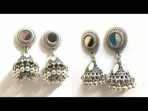 Traditional Silver Antique Mirror Jumki Earrings   ZumZum Collection