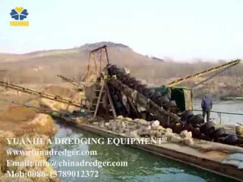 bucket dredger for gravels on working