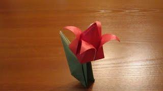 Тюльпан из бумаги   Origami Tulip
