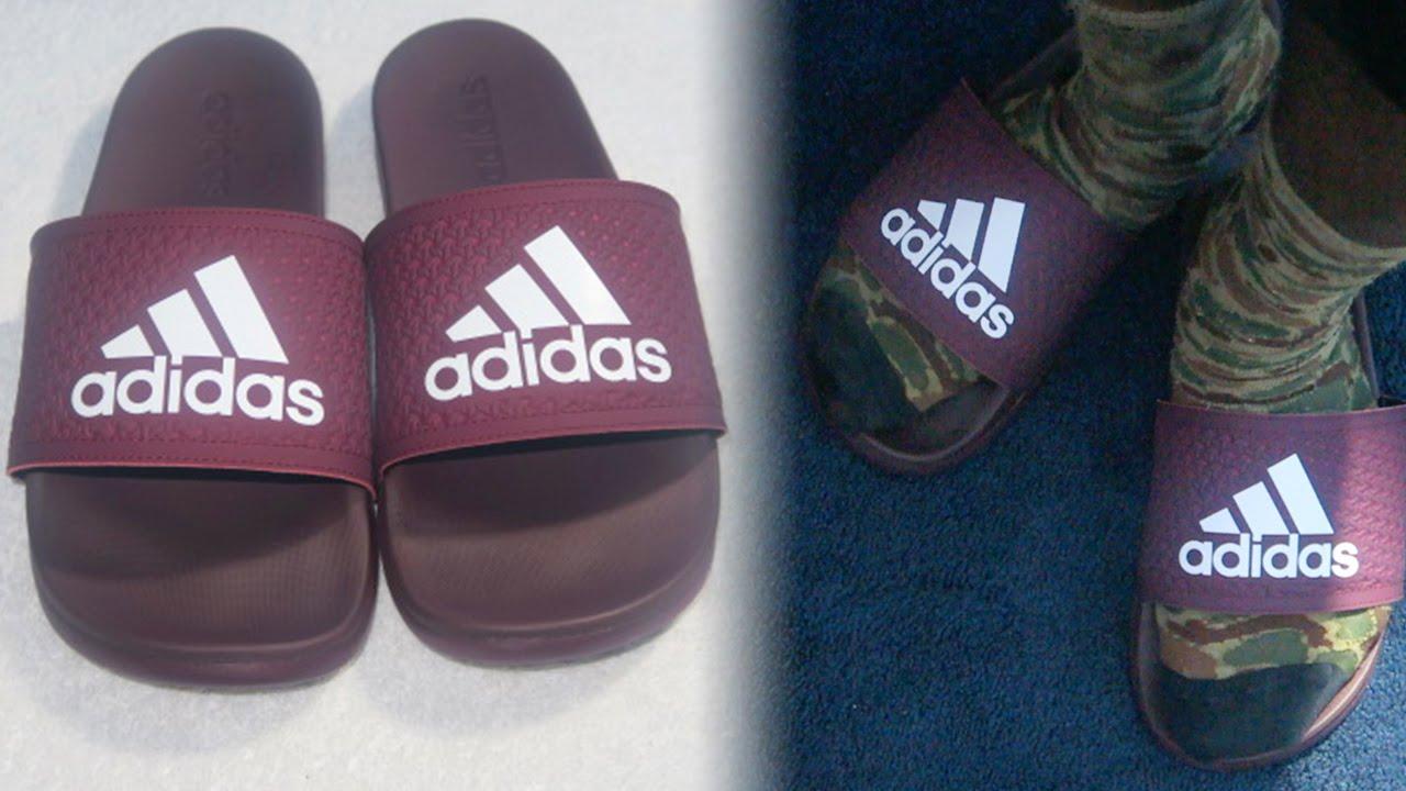 Adidas adilette supercloud maroon diapositive.unboxing & in piedi su youtube