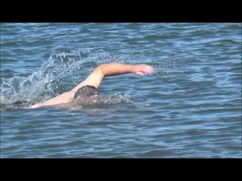JP swimming in buoyant Irish Sea