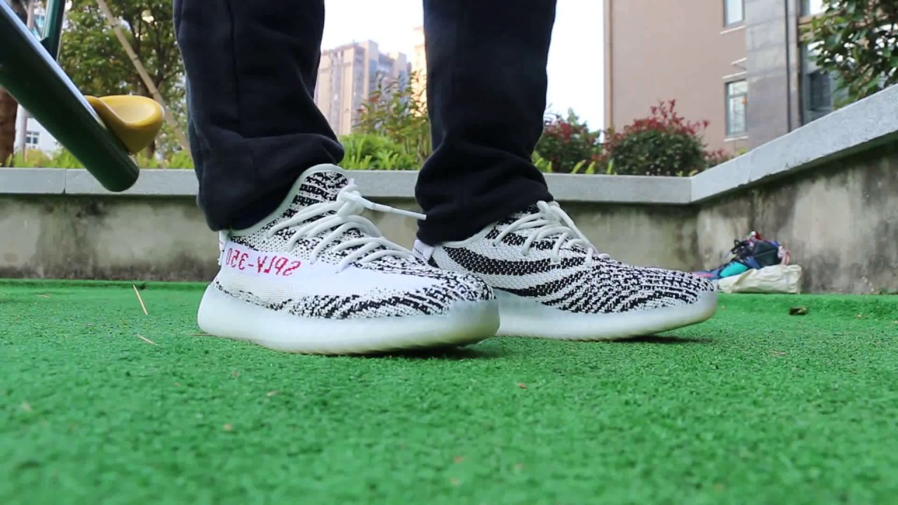 adidas yeezy zebra on feet