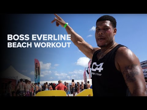 "Ron ""Boss"" Everline Challenges Fans to a Beach Workout"