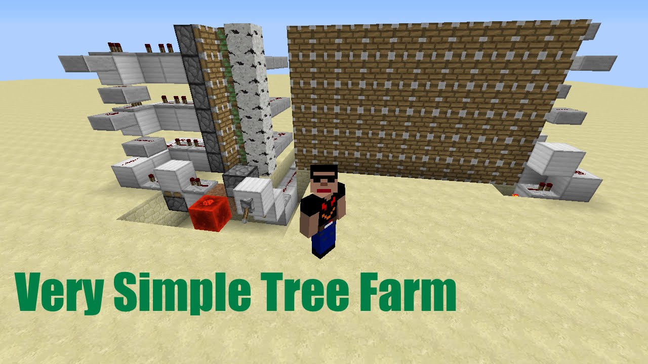 How to build a simplecheap semi auto tree farm in minecraft works in
