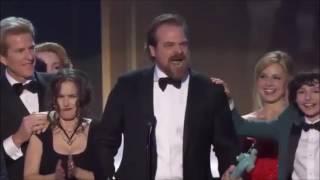 David K Harbour SAG Awards ( with Stranger Things Main Theme)