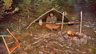 Bushcraft solo on a mountain, canvas lavvu, making a 3 positions rotisserie, carving my kuksa