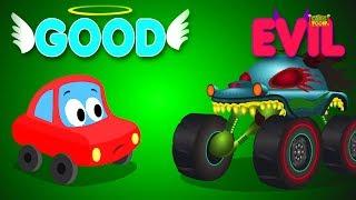 Little Red Car vs Haunted House Monster Truck | Good vs Evil | Original Song For Kids