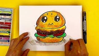 Как нарисовать БУРГЕР / Уроки рисования для детей от РыбаКит