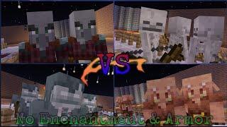 Skeleton Team VS Piglin Team VS Stray Team VS Pillager Team *[Mob Team Fight]* (No Armour & Enchant)