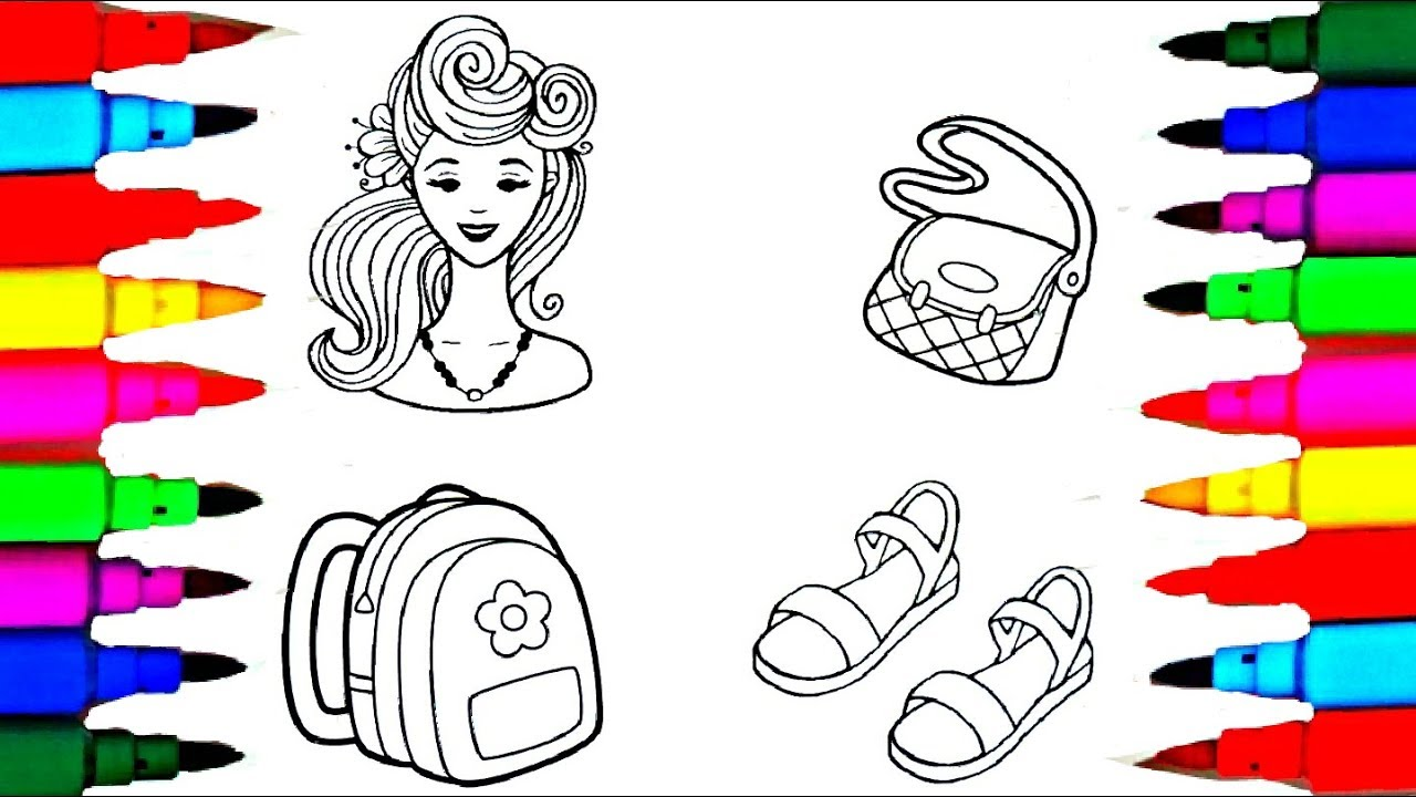 Rainbow Learning Beautiful Barbie Accessories Coloring Pages L