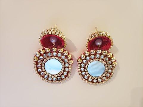Designer Mirror Earrings - Jhumka Earrings Gold - Fabric Kundan Stone Earrings - Jhumka Design