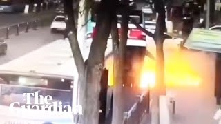CCTV shows huge sinkhole swallowing bus in China killing at least six