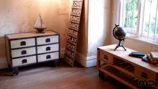 L'usine Vintage 6 Drawer Chest - Wheels - Milan Direct