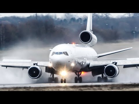 Spectacular MD-11 LANDING and DEPARTURE on a WET RUNWAY (4K)