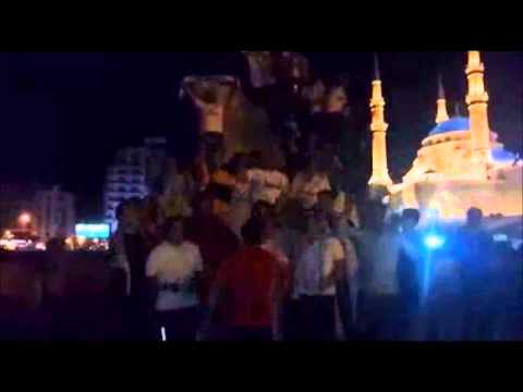 Real Madrid fans in Lebanon celebrating in their own Cibeles in Beirut