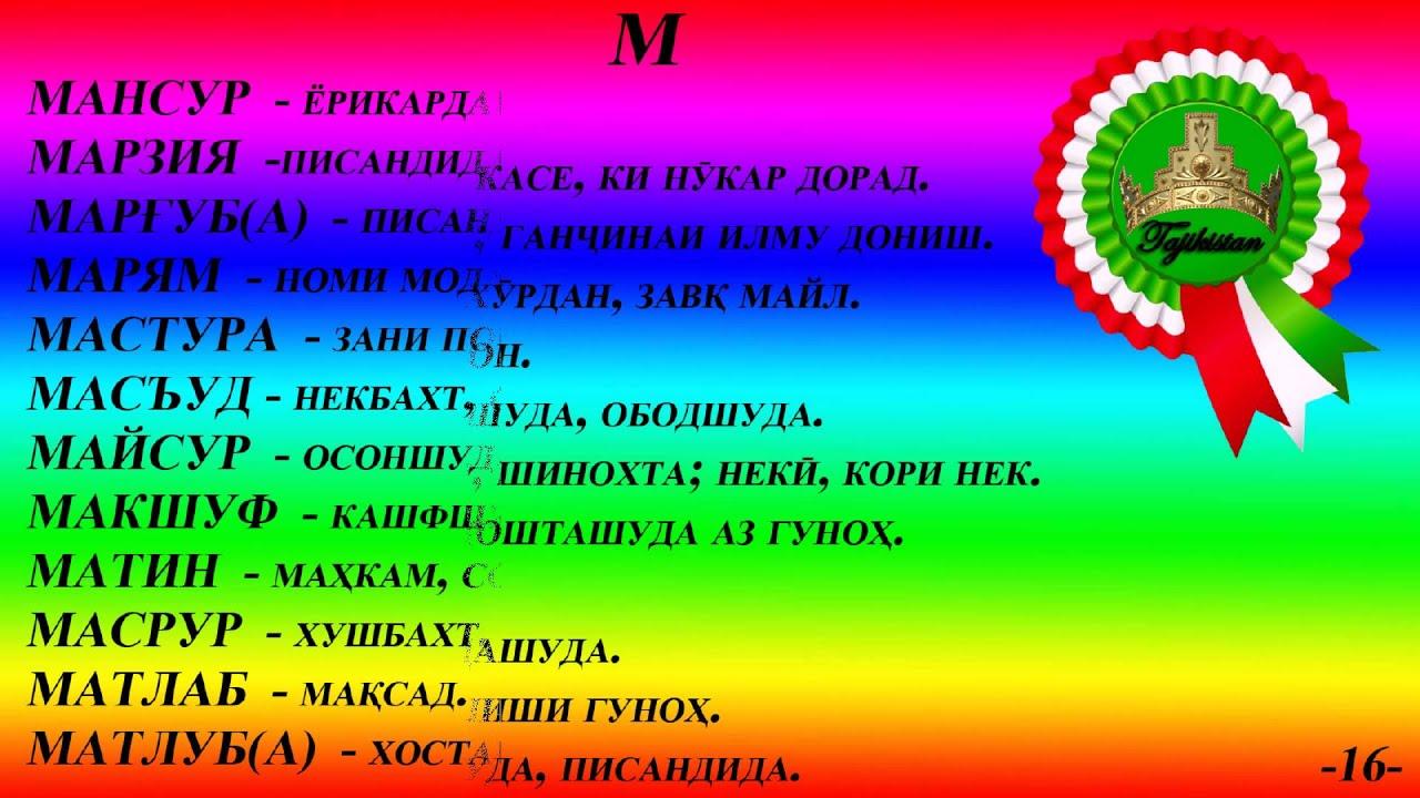 Таджикские имена НОМНОМА NOMNOMA часть 3