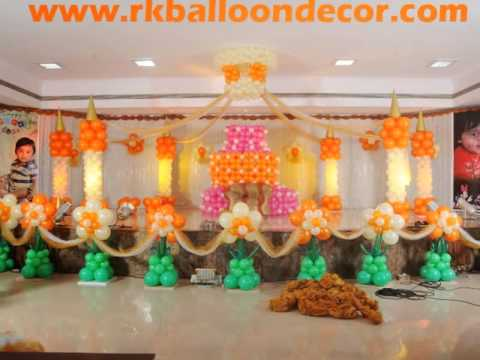 Rk balloon decorations rajahmundry youtube for Balloon decoration ideas youtube