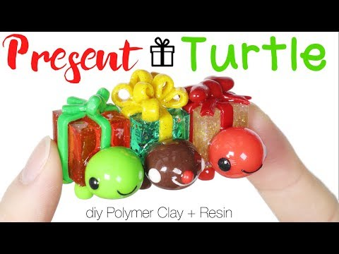 How to DIY Present Holiday Turtle Polymer Clay/Resin Tutorial