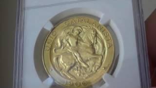アンティークコイン スペイン 1900年 アルフォンソ13世100ペセタ金貨 MS63 NGC