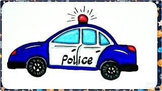 رسم سيارة الشرطة في عيد الشرطة 25 يناير  للأطفال والمبتدئين ، How to draw a Police Car