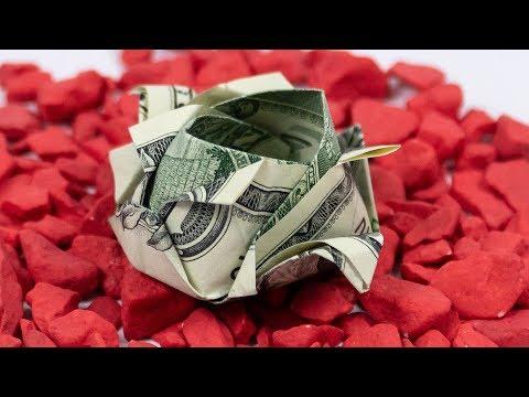 Money Origami ROSE 🌹 Dollar Origami Rose Making Instructions