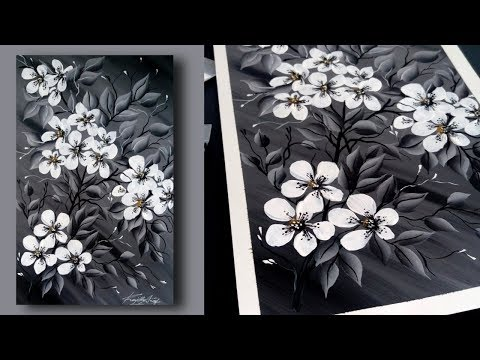 SIMPLE Acrylic Painting Techniques – BLACK & WHITE – Painting Lessons – Floral – Day #18