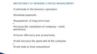 IMPORTANCE OF WORKING CAPITAL MANAGEMENT#8