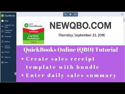 QuickBooks Online QBO - Create sales receipt template with bundle | Enter daily sales summary