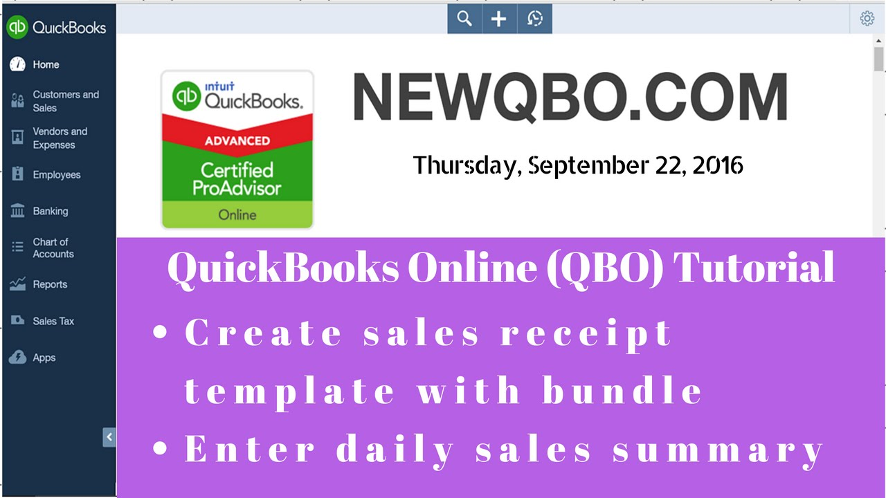quickbooks online qbo create sales receipt template with bundle