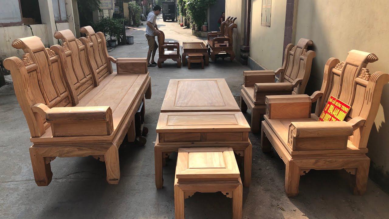 Bàn ghế phòng khách gỗ gõ víp siêu dày  0944490000 0983735596 0924490000