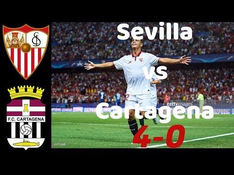 Sevilla vs Cartagena 4-0 highlights and goals (resumen)