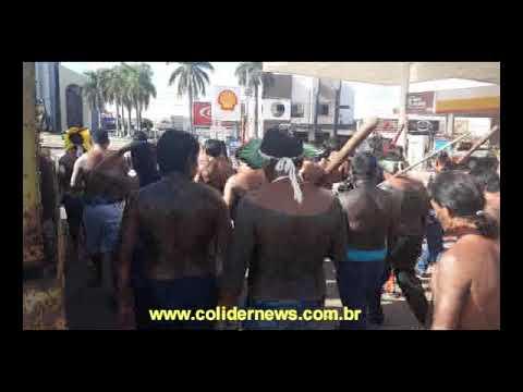 Índios protestam no centro de Colíder contra atendimento do HRCOL e Bolsonaro. (Vídeo)