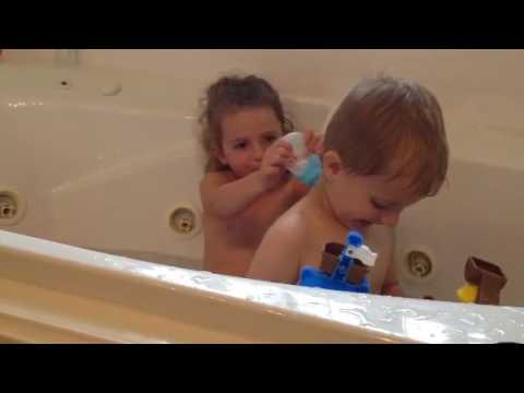 Ava and Max in tub - YouTube