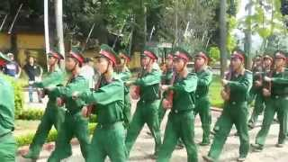 Vietnam Guards performing close order drill near Ho Chi Minh mausoleum in Hanoi