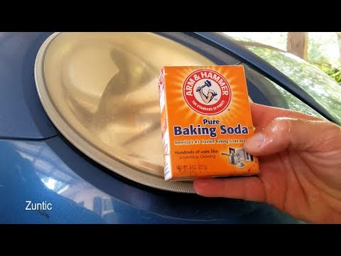 Cleaning headlights with baking soda - life hack test