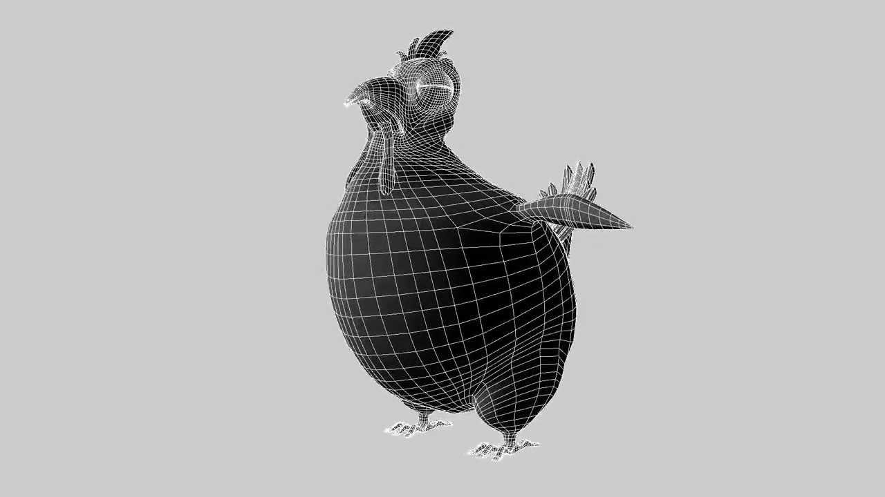 Bluck the Chicken Wireframe Turnaround - YouTube