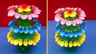 Empty Plastic Bottle Vase Making Craft / Plastic Bottle Recycle Flower Vase Art Decoration Idea