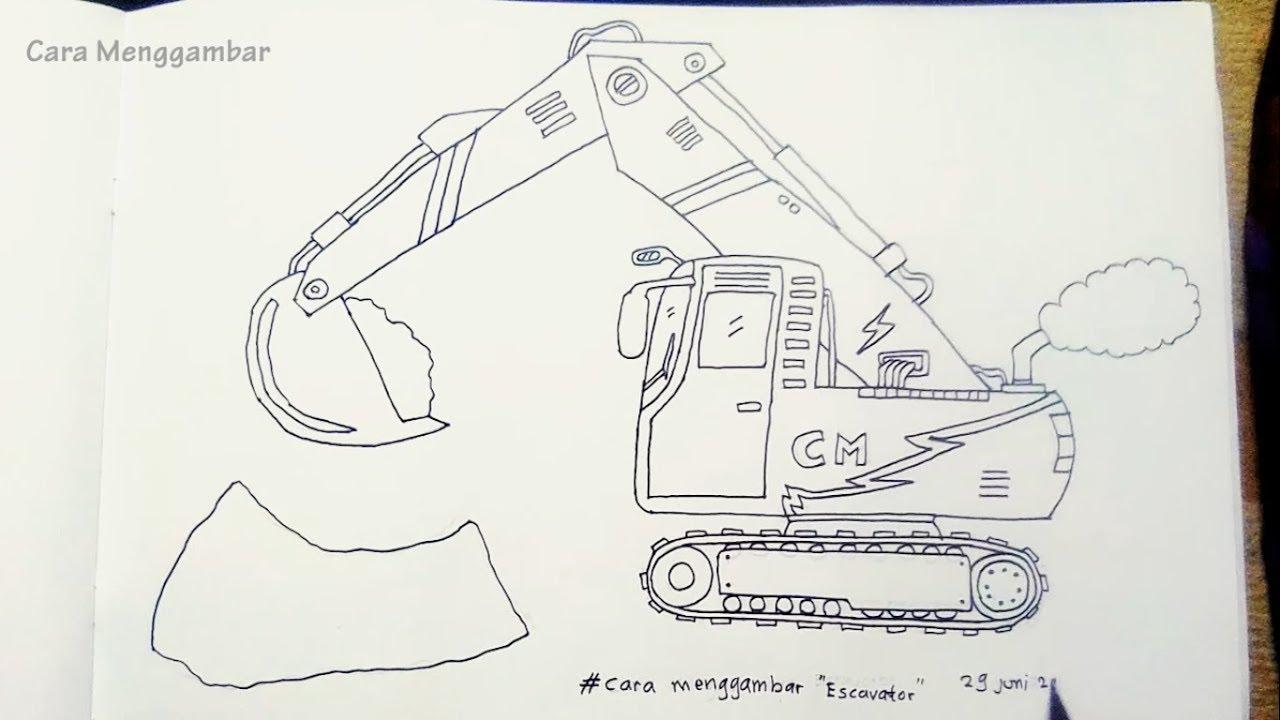 Cara Menggambar Excavator Beko Youtube
