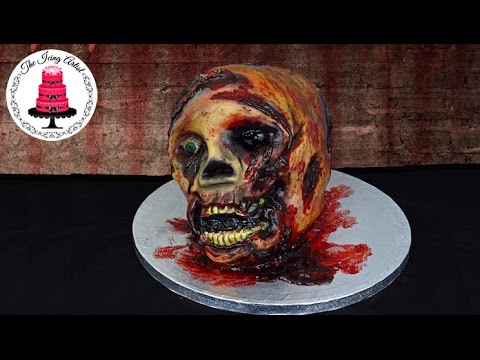 Walking Dead 3D Severed Zombie Skull Cake How To With The Icing