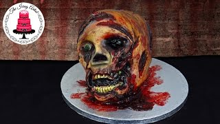 Walking Dead 3D Zombie Skull Cake - How To With The Icing Artist