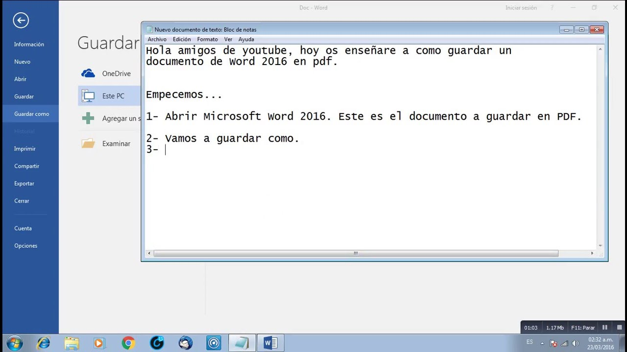 Como guardar un archivo word 2016 en PDF - YouTube