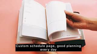 Yuhe Print pink leather planner with debossed logo