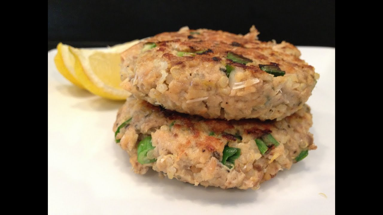 Quinoa salmon patty recipe hasfit salmon quinoa recipes for Canned fish recipes