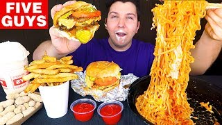 Cheesy Noodles & Five Guys • MUKBANG